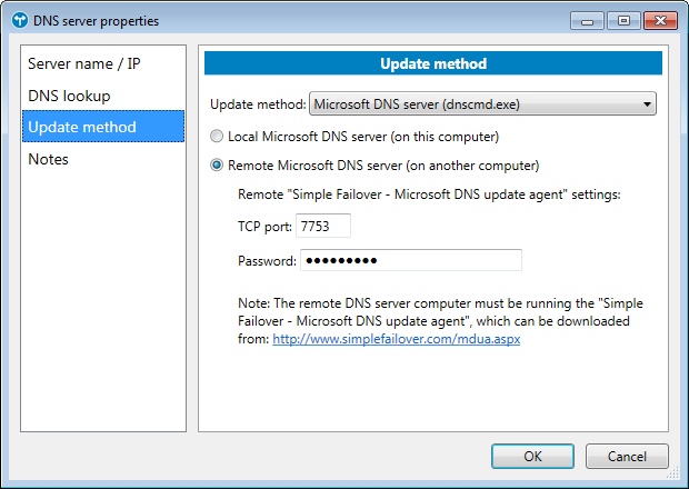 DNS server properties dialog - Update method