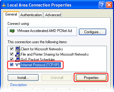 Configuring Windows to use local DNS server (Windows XP)