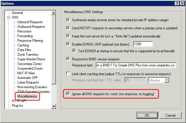 option in simple dns plus to ignore root requests