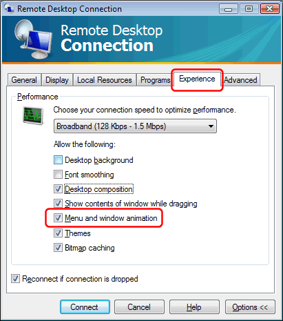 Program menus slow when accessed through Remote Desktop